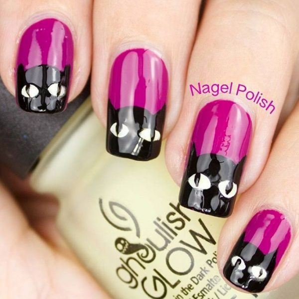 black cats halloween nail design bmodish