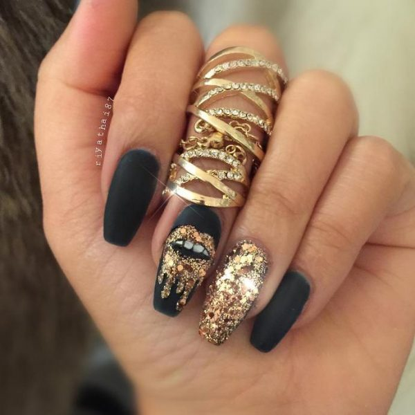 black gold lip nail art bmodish