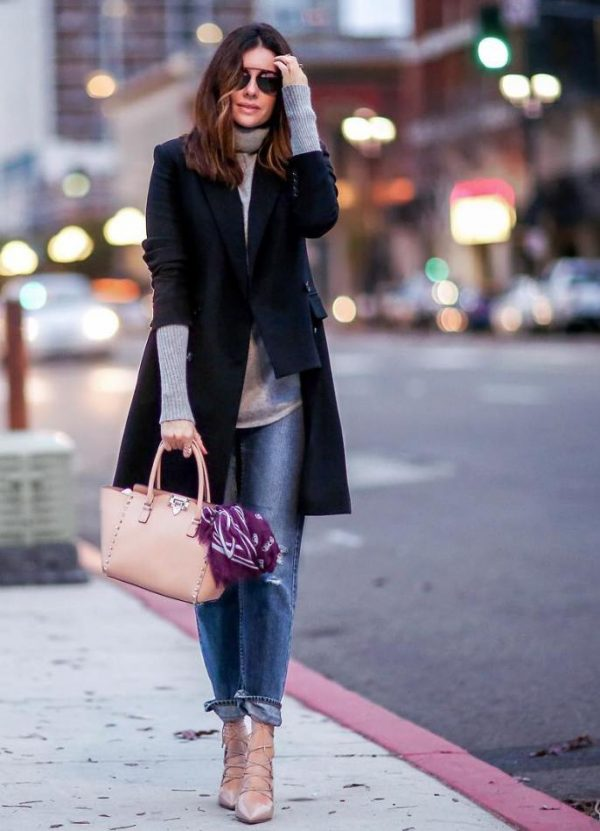 black long blazer fall winter outfit bmodish