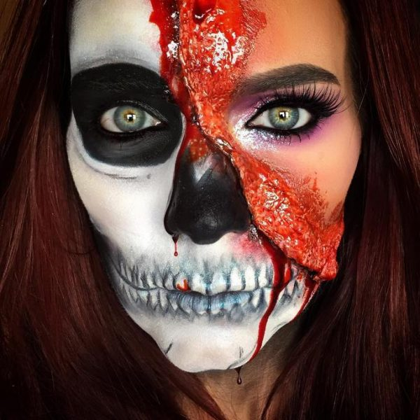 blooded skull halloween makeup bmodish