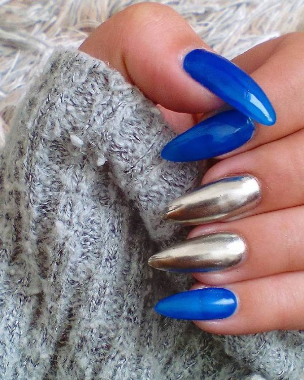 blue and gold mirror nail design bmodish