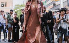 blush slip dress with blush trench coat bmodish