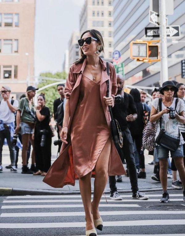blush slip dress with blush trench coat bmodish