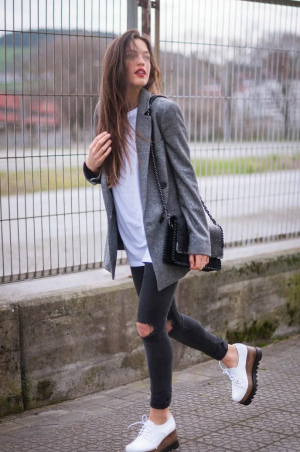 casual grey long blazer outfit bmodish