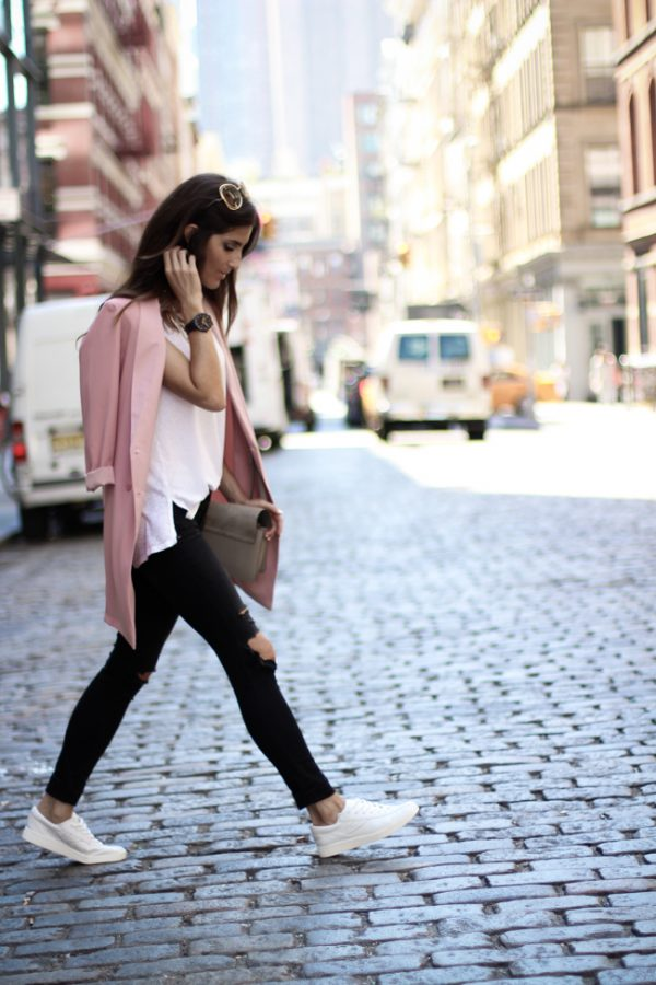 casual long pink blazer outfit bmodish