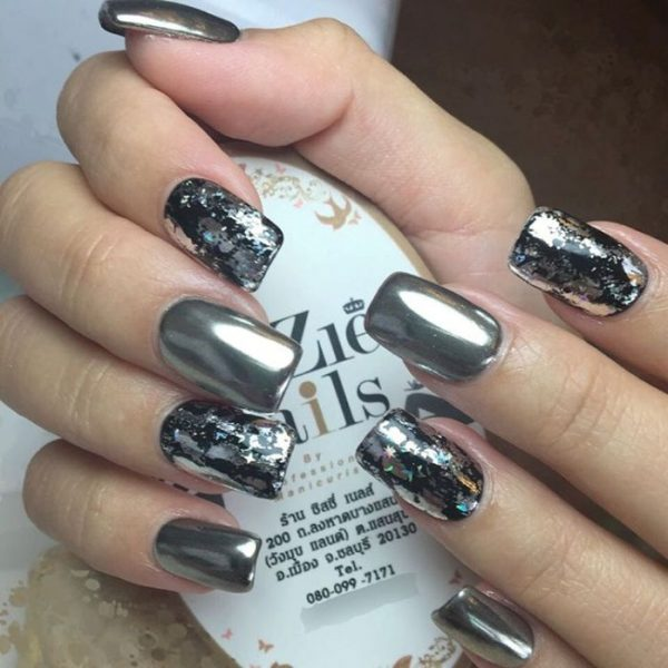 chrome and black nail art bmodish