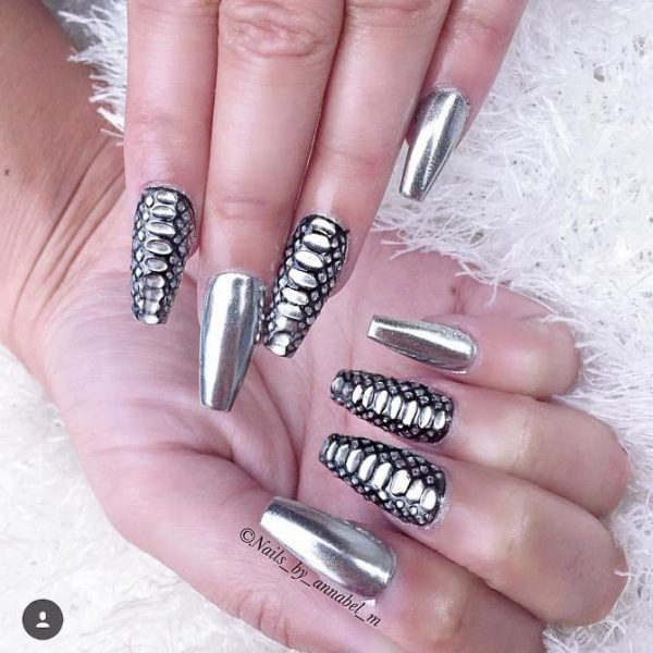 chrome and snakeprint nail art bmodish