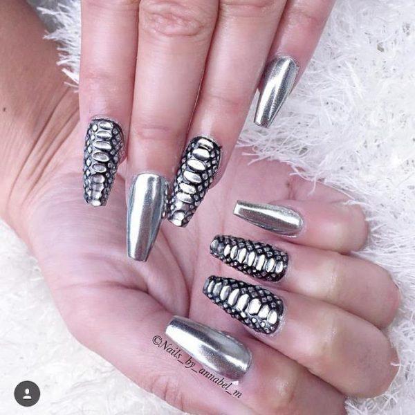 chrome and snakeprint nail art bmodish