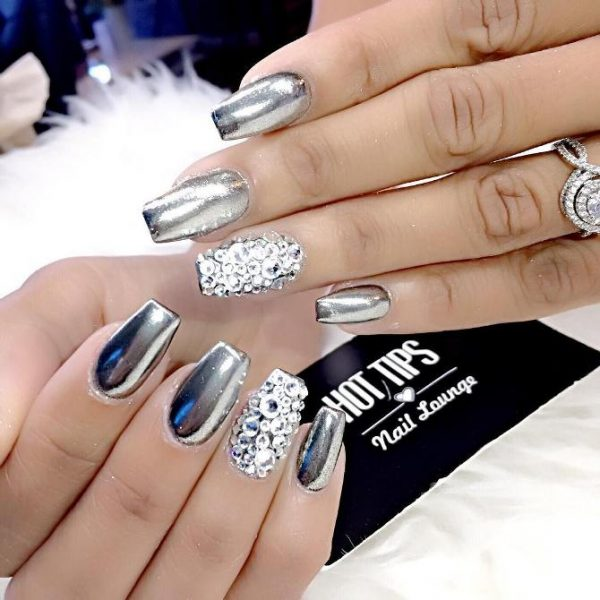 chrome with diamond nail art bmodish