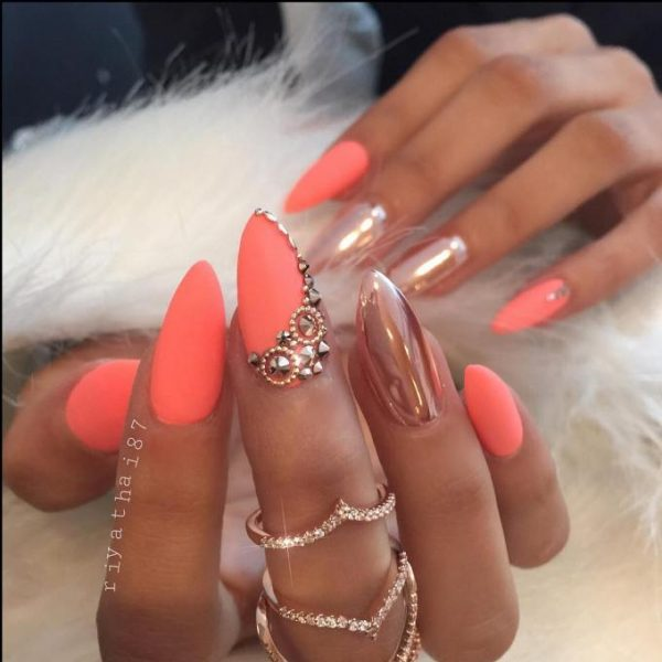 coral matte mirror nails bmodish