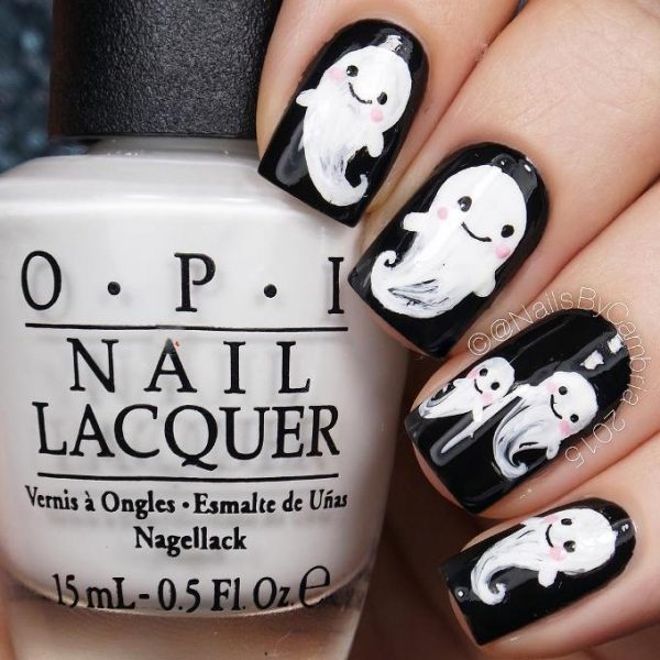 cute ghosts halloween nail art bmodish
