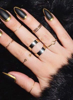 elegant black gold nails bmodish