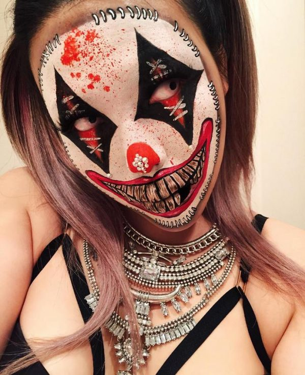 freaky clown halloween makeup bmodish
