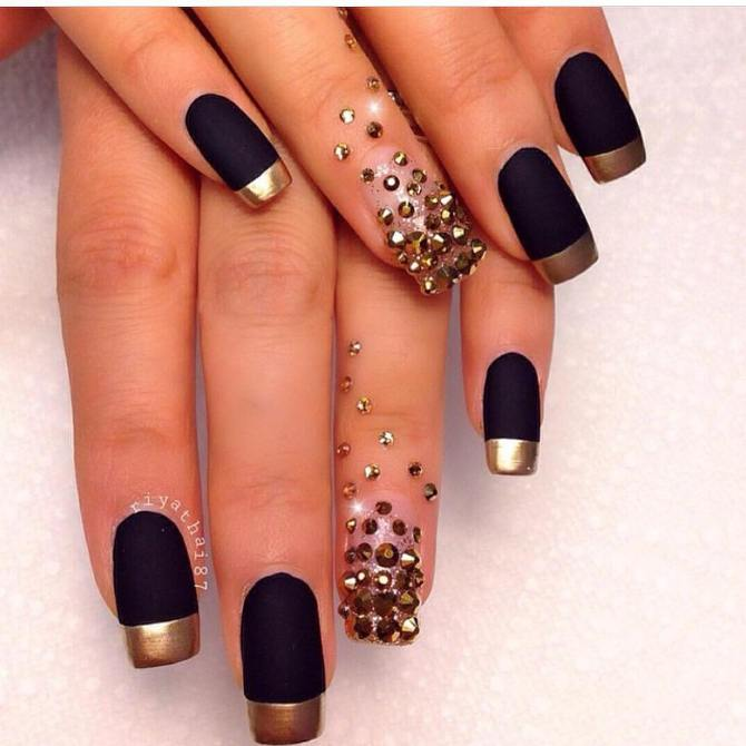 glam french black with gold nails bmodish