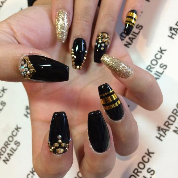 glam gold and black nail designs bmodish