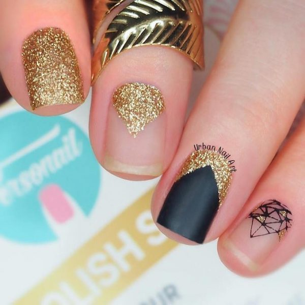 glam gold and black nail design bmodish