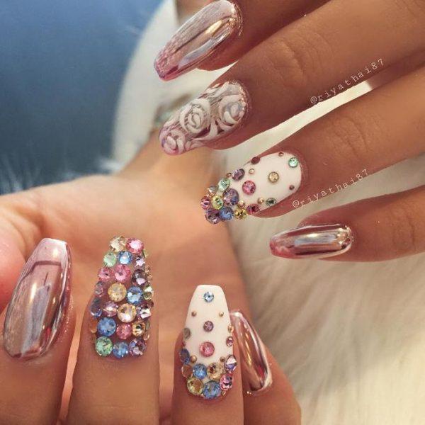 glam swarowski mirror nail designs bmodish