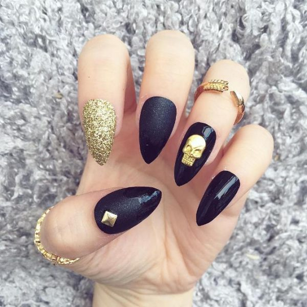 gold and black skull nail art bmodish