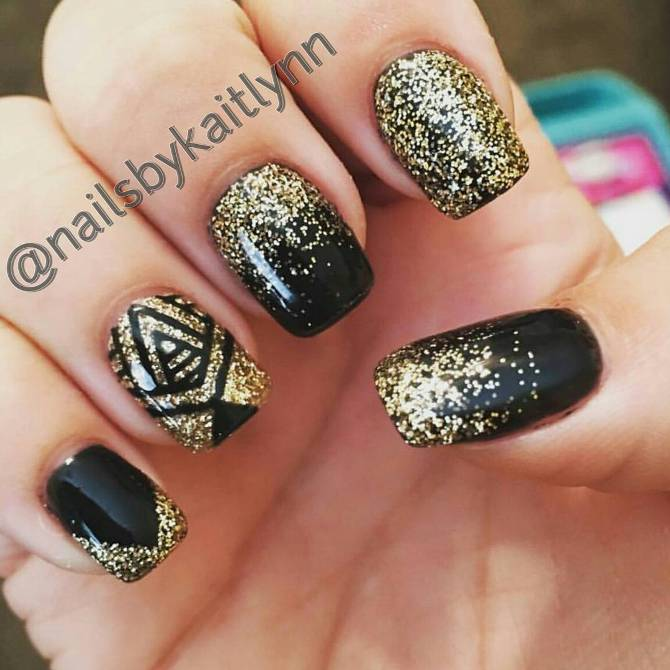glittery black and gold nail art bmodish