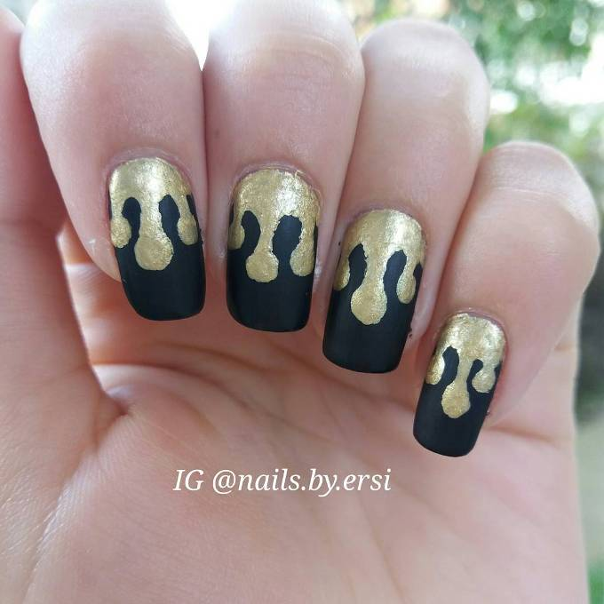 gold and black nail design bmodish