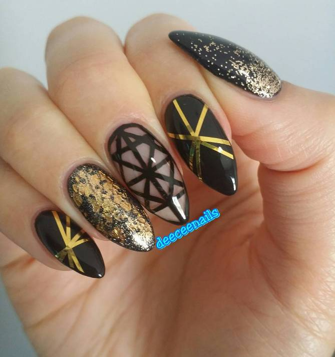 gold and black nail tape bmodish