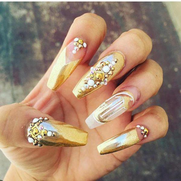 gold chrome embellished nails bmodish