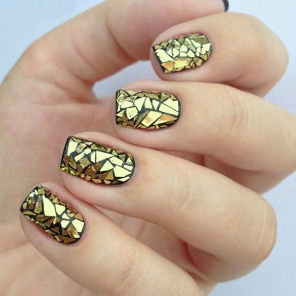 gold and black mirror nails bmodish