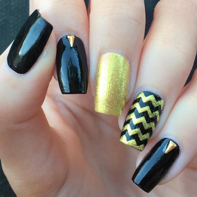 triangle black and gold nail designs bmodish