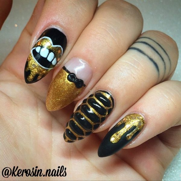 goth chic black and gold nail designs bmodish - Glamorous Black And Gold Nail Designs