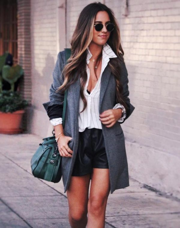 grey long blazer stylish outfit bmodish