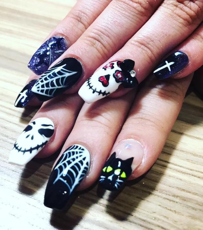 halloween love story nail design bmodish