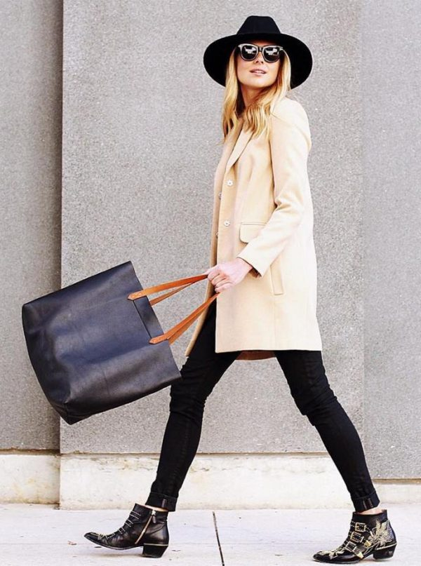 long blazer coat with ankle boots outfit bmodish