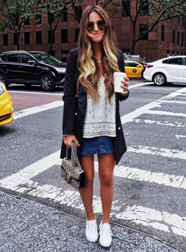long blazer outfit with blouse and mini jeans skirt bmodish