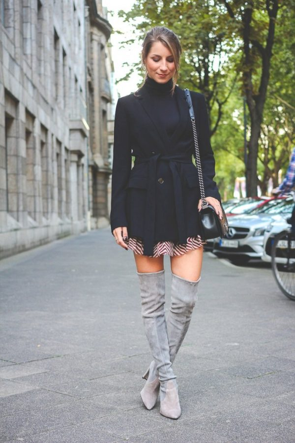 long blazer with over the knee boot outfit bmodish