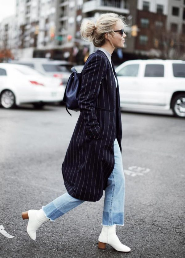 long blazer with white boots fall outfit bmodish