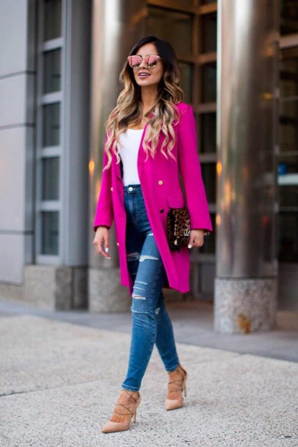 magenta fuchsia long blazer outfits bmodish