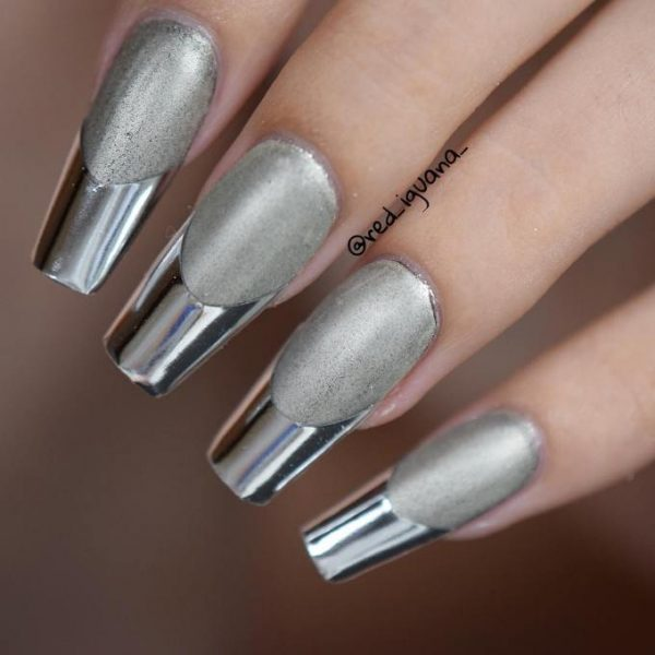 matte and chrome mirror nails bmodish