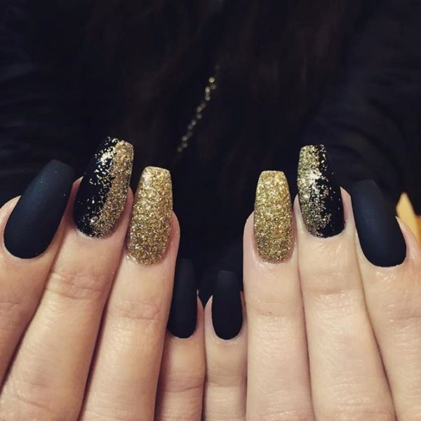 matte black and glitter gold coffin nails bmodish