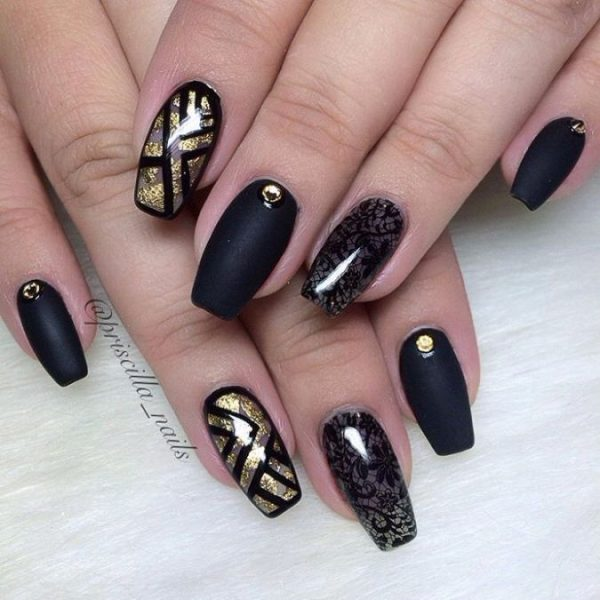 matte black lace and negative space gold nails bmodish