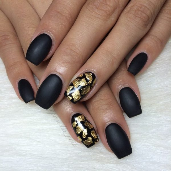 matte black with gold nails bmodish