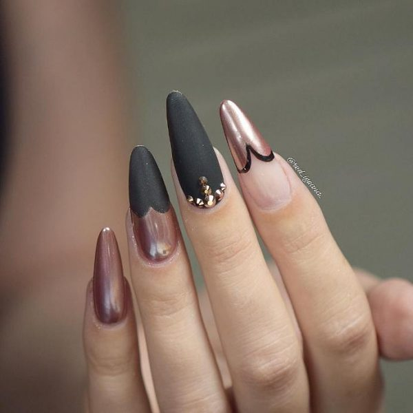 matte black with pink chrome nails bmodish