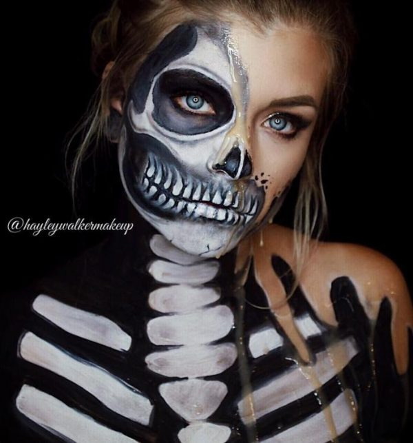 melting skull halloween makeup bmodish