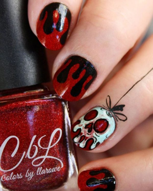 melting skull halloween nail design bmodish