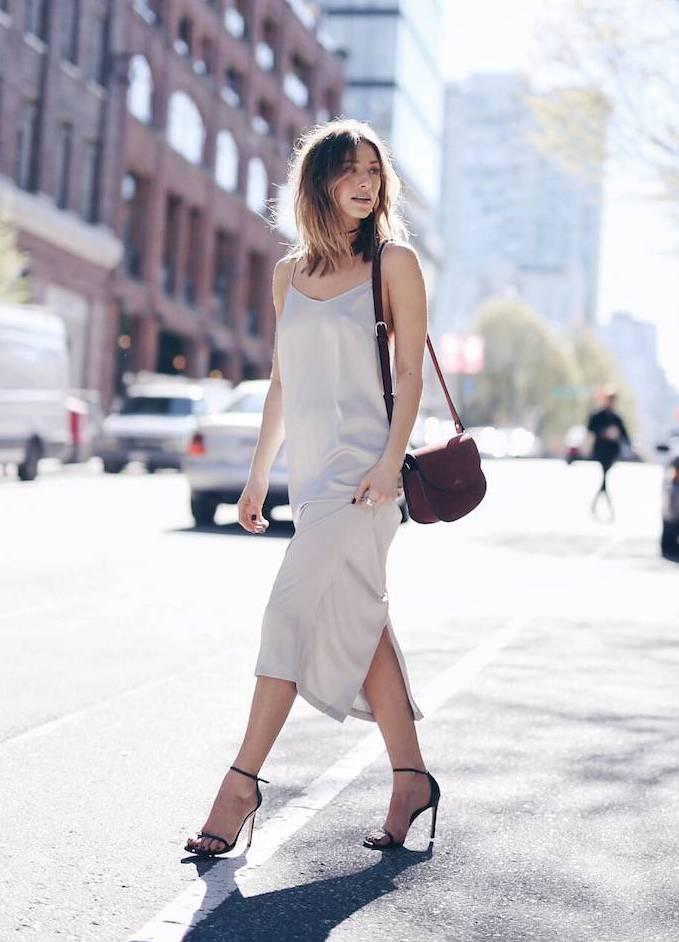 mid length slip dress street style bmodish