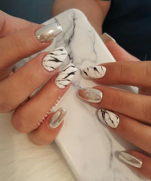 mirror marble nails bmodish