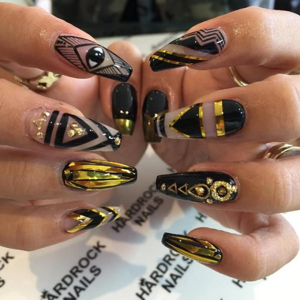 mix images gold and black nails bmodish