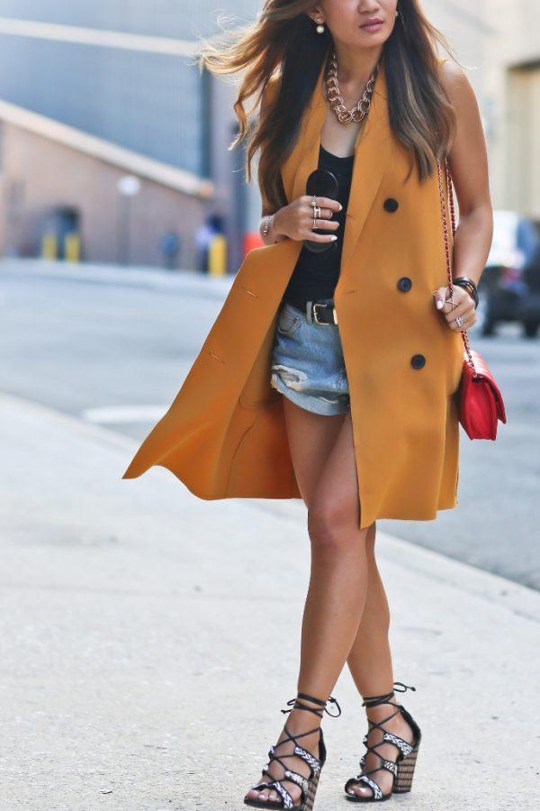 mustard sleeveless long blazer casual outfit bmodish