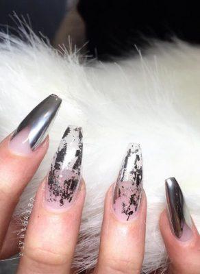negative space chrome nails bmodish