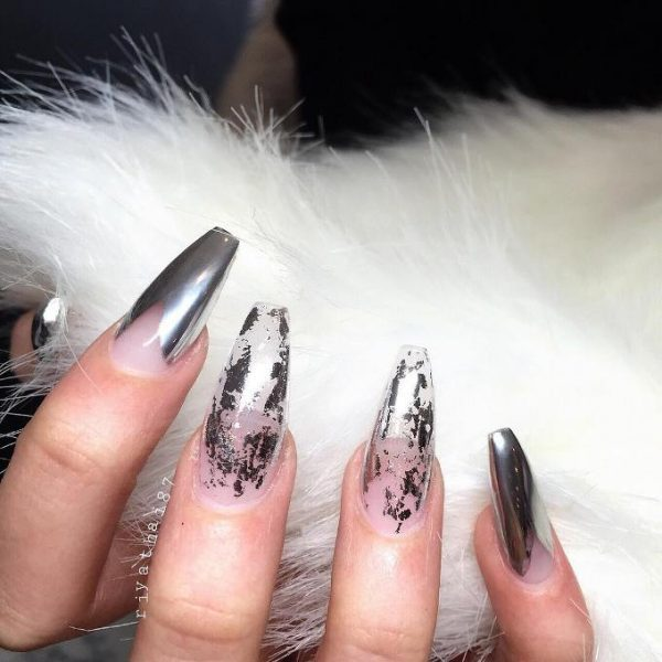 negative space chrome nails bmodish