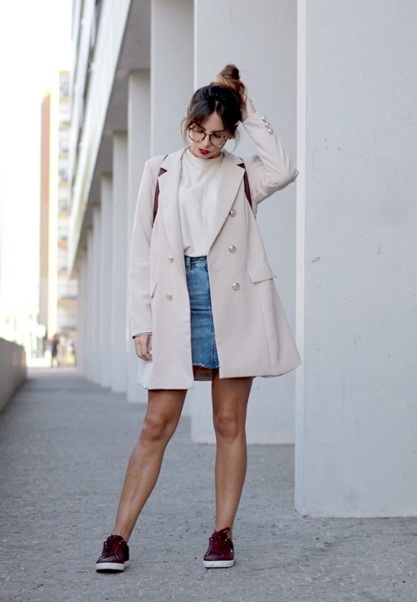 neutral long blazer casual outfit bmodish